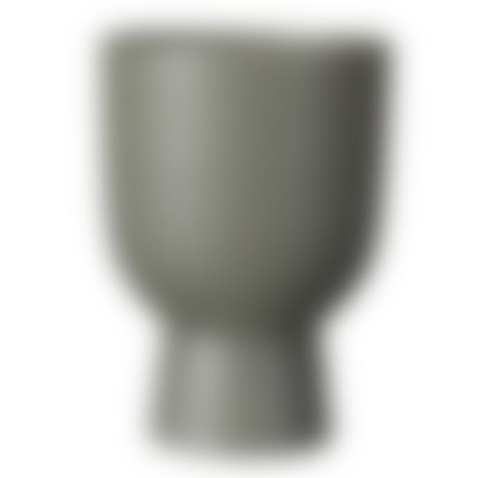 Wikholm Form Akhila Rounded Matte Green Metal Plant Pot Large