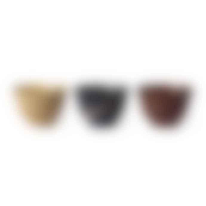 HKliving Kyoto Ceramics Set Of 3 Japanese Matcha Bowls