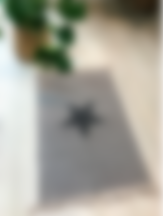 Luna Small Grey Rug with Black Star