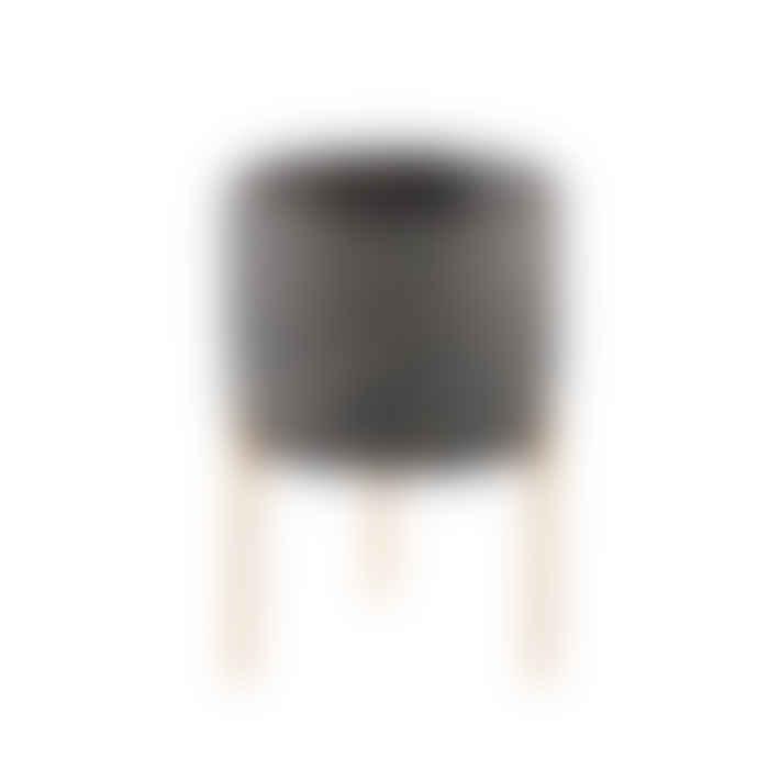 PTMD Krizz Grey Cement Pot Iron Legs Round M