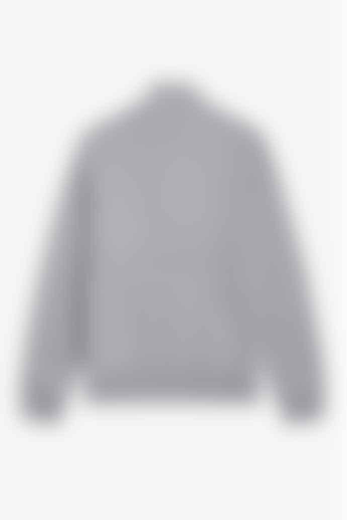 Fred Perry Embroidered Panel Half Zip Sweatshirt Steel Marl