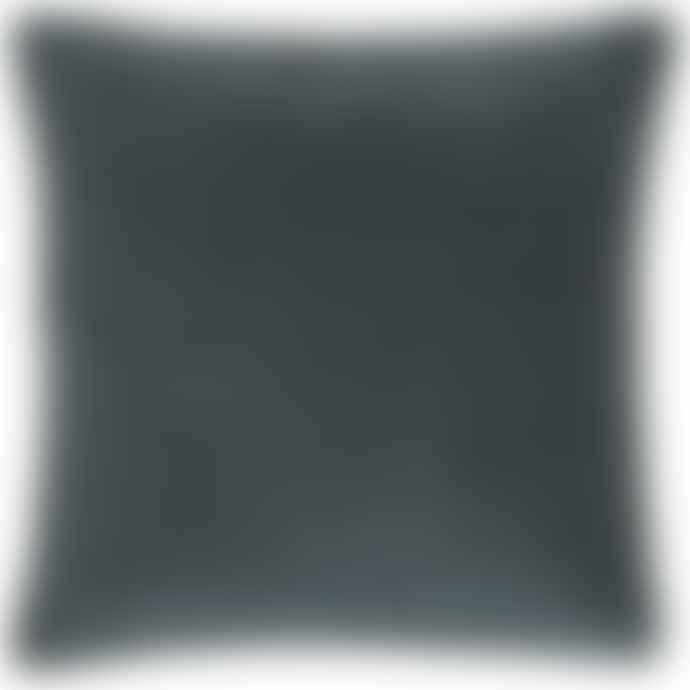 Ib Laursen Historical Petrol Blue Cotton Velvet Cushion Including Feather Pad