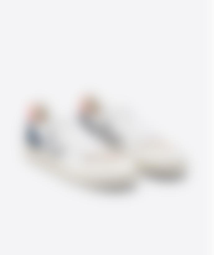 Veja V-10 Leather Extra White Oxford Grey Orange Fluor Sneakers Man