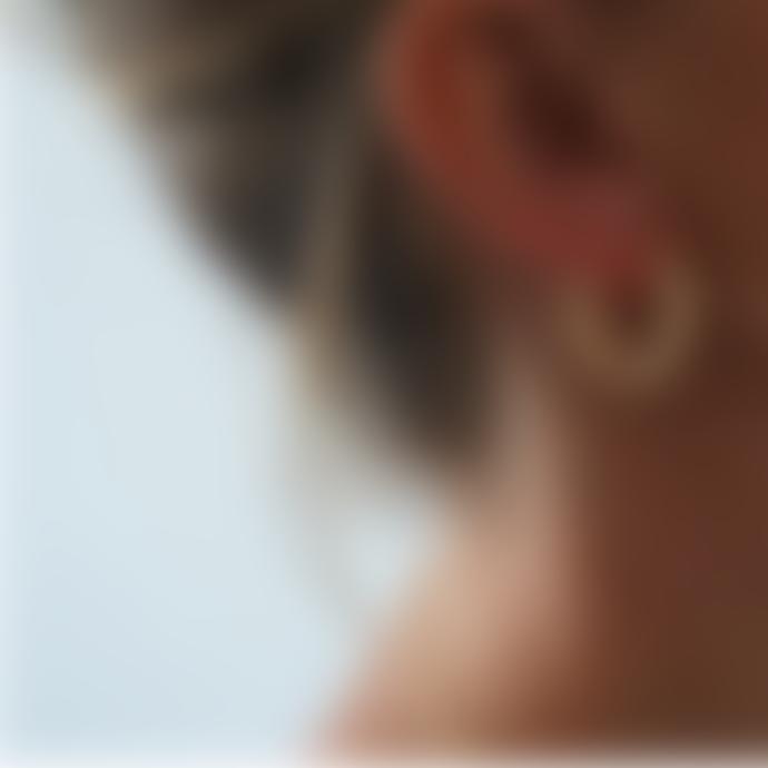 bon bon fistral Gold Plated Cut Out Hoop Earrings