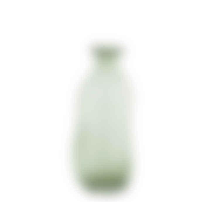 Madam Stoltz Tall Bottle Green Organic Shape Glass Vase