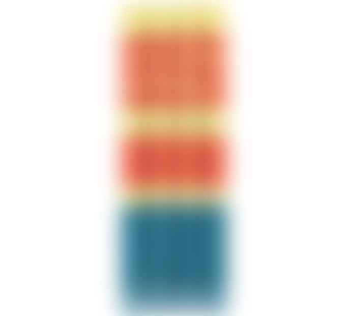 British Colour Standard Yellow, Orange, Turquoise Striped Candles