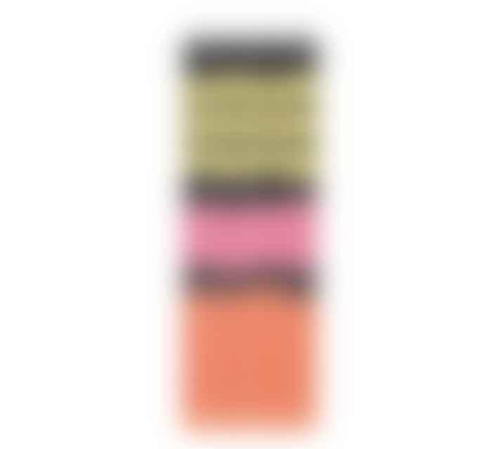 British Colour Standard Black, Yellow, Orange, Pink Striped Candles