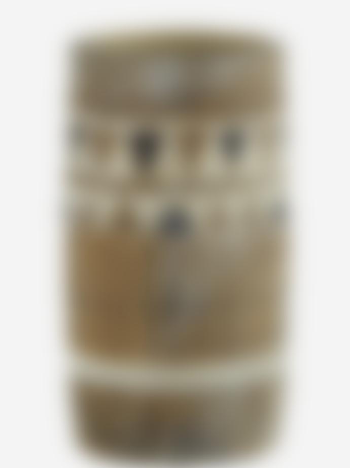 Madam Stoltz Textured Triangle Print Tall Terracotta Vase