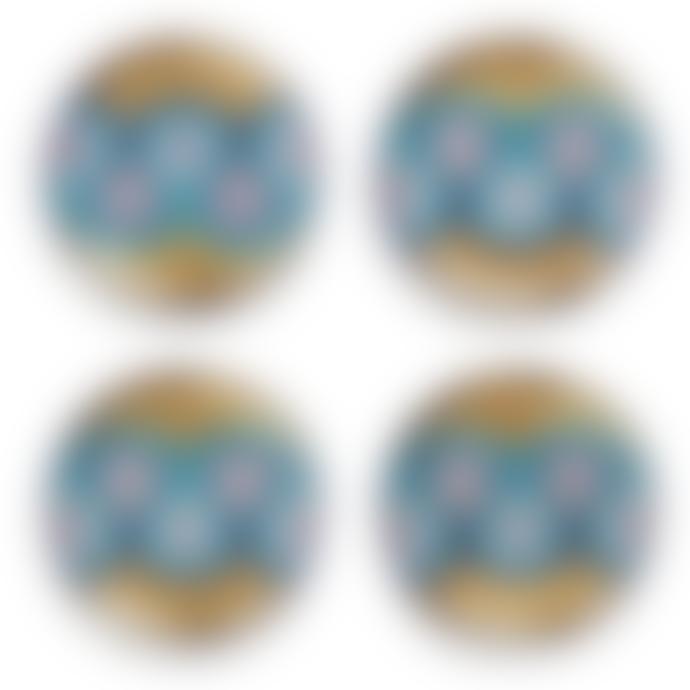 Jonathan Adler Set of 4 Gold and Blue Milano Coasters