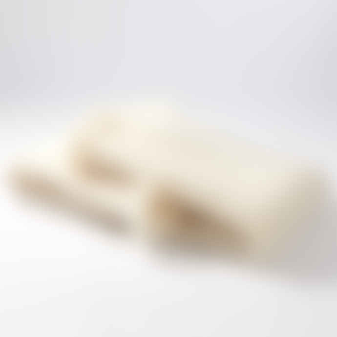 Mantas Ezcaray Lisos Cream Mohair and Wool-Blend Throw