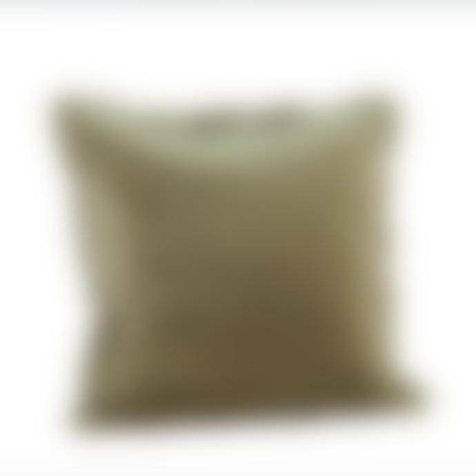 Madam Stoltz Velvet Fringe Cushion - Mink