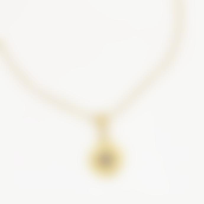 Ottoman Hands Vega Gold Star Necklace Blue Crystal