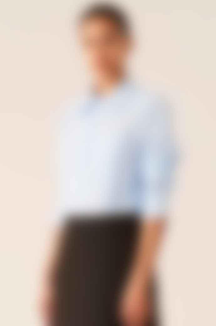 Ganni Stripe Cotton Shirt Heather