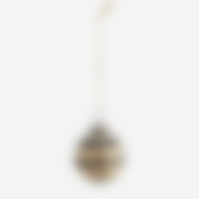 Madam Stoltz Hanging Glass Ball W/ Stripes Set of 2