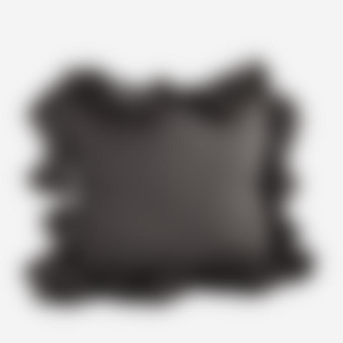 Madam Stoltz Charcoal Textured Tassel Cushion