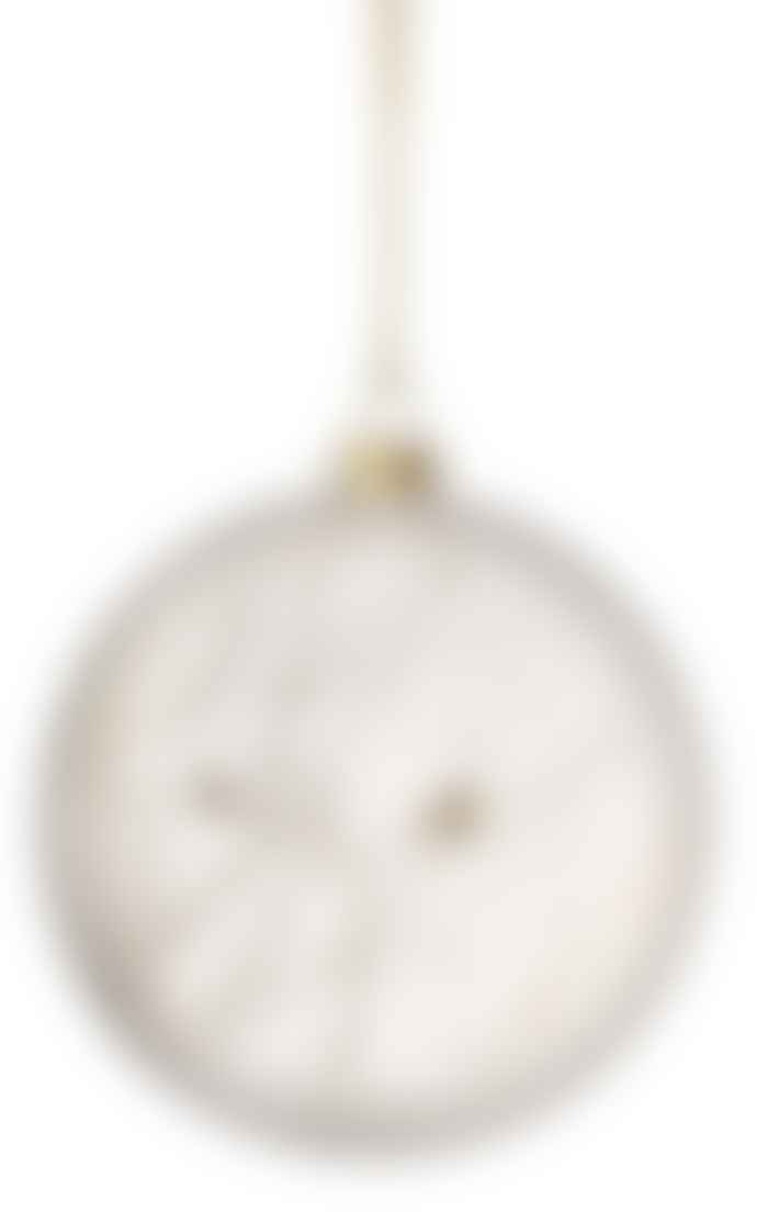 Rader Large Frosted Glass Bird Branches Christmas Medallion Bauble