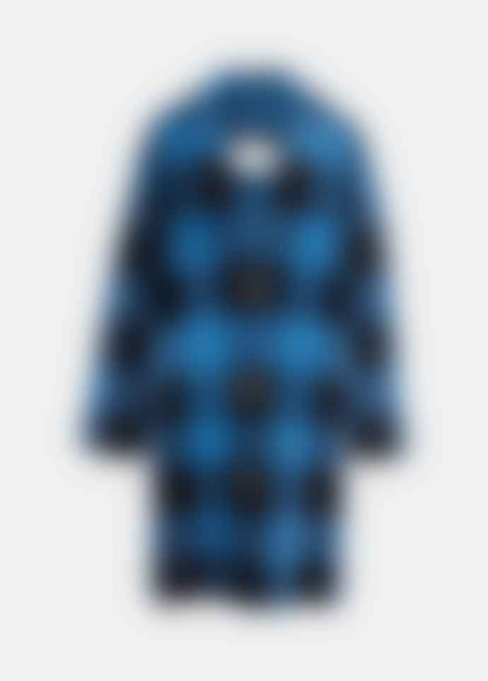 Essentiel Antwerp Black and Blue Check Knitted Coat