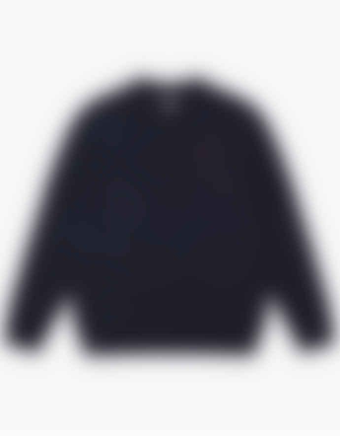 WEMOTO Navy Blue Nep Norman Knit Crewneck Pullover