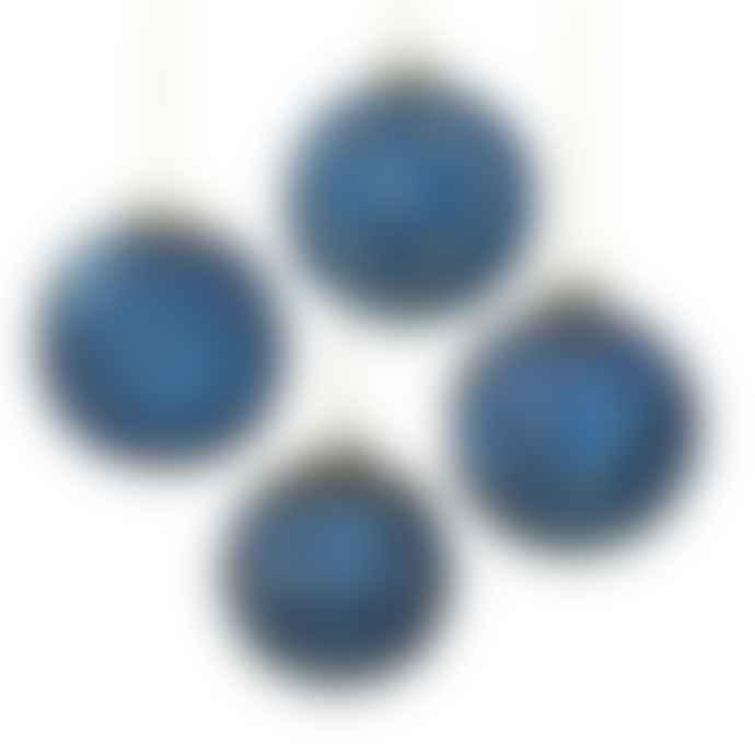 Rhubarb  Set Of 4 Blue & Gold Glass Baubles