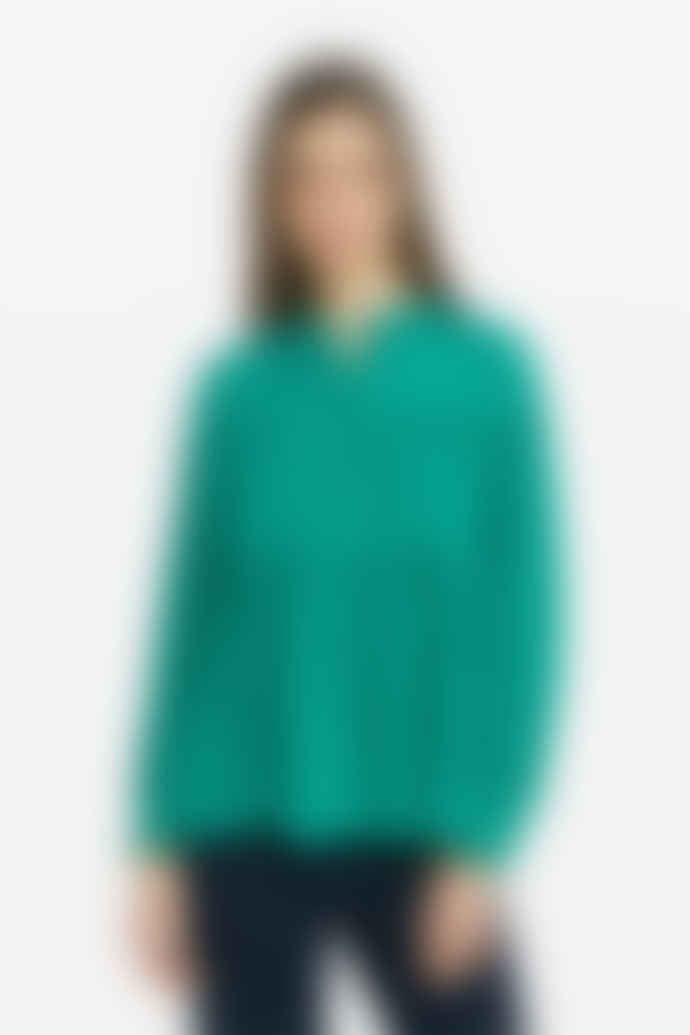 Otto D Ame Green Long Sleeved Ruffle Blouse