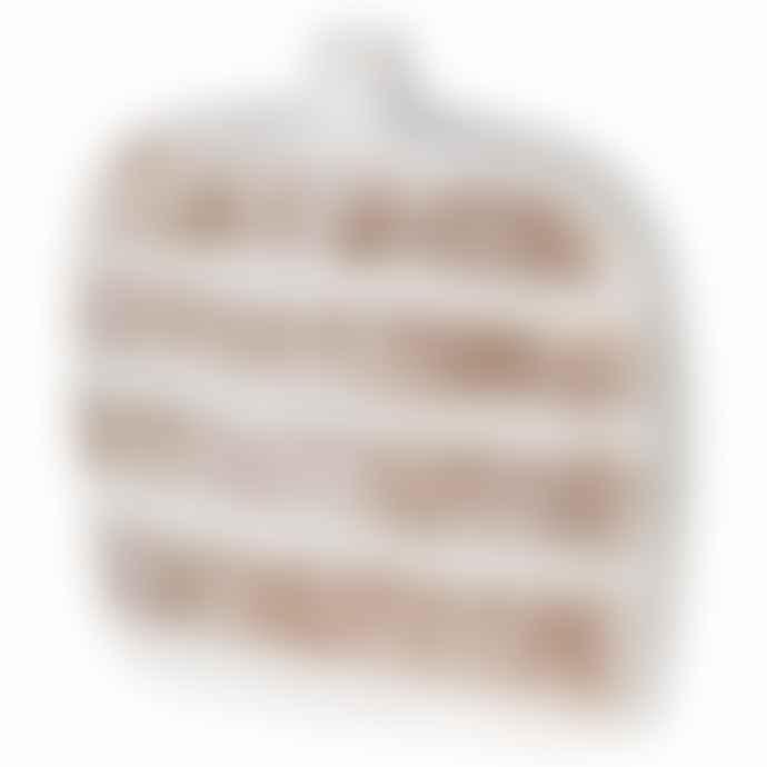 Striped Ceramic Vase White