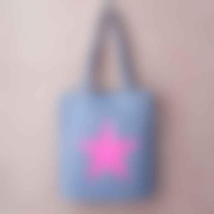 Feather & Nest Light Denim Salvaged Star Bag Neon Pink
