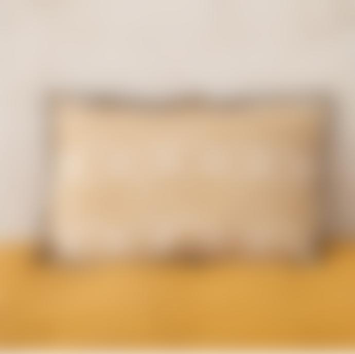 Balakata 40 x 60cm Mustard Linen Bhuj Printed Cushion Cover