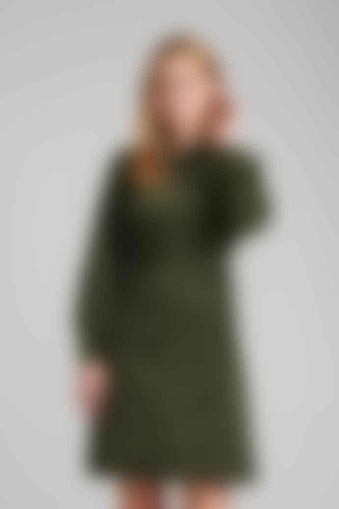 Numph Dark Green Corduroy Dress