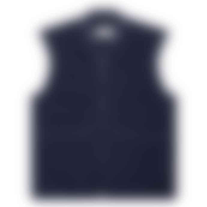 Universal Works Fleece Check Zip Waistcoat Navy