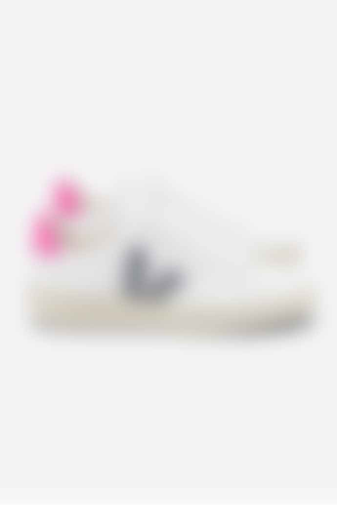 Veja VEJA V 12 WHITE OXFORD GREY PINK LEATHER TRAINER WOMENS