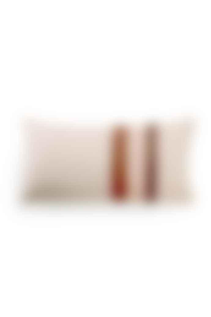 HKliving Grey Pink Linen Striped Jacquard Cushion