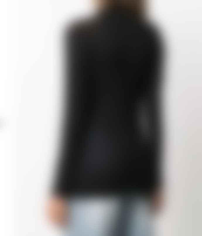 Transit 18531 Funnel Neck Fine Wool Sweater Black