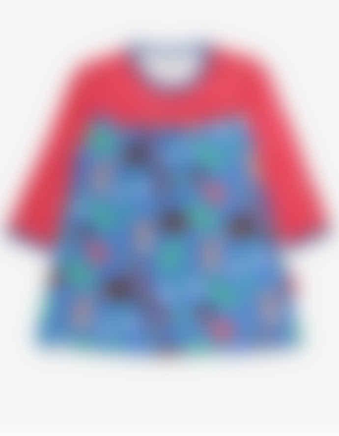 Toby Tiger Blue Organic Woodland Print LS Dress