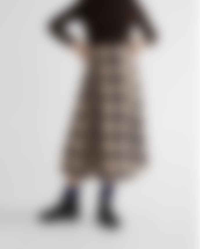 Thinking Mu Rati Midi Skirt In Check Print
