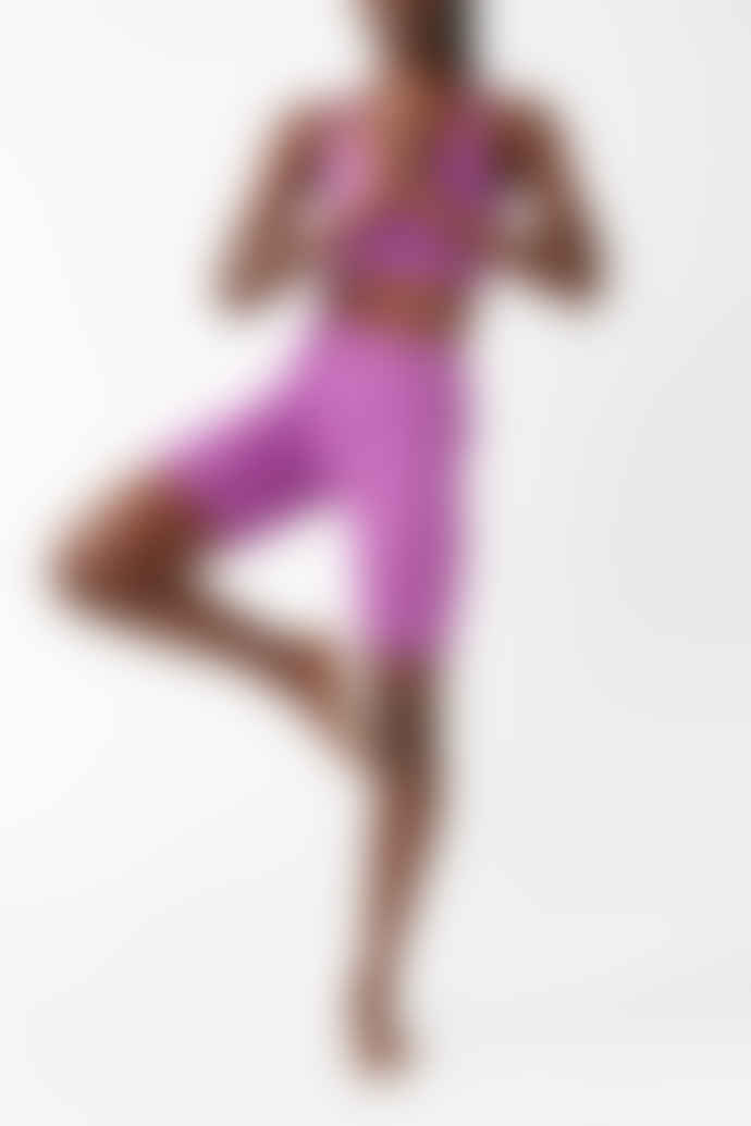 Girlfriend Collective Wildflower Purple High Rise Bike Shorts