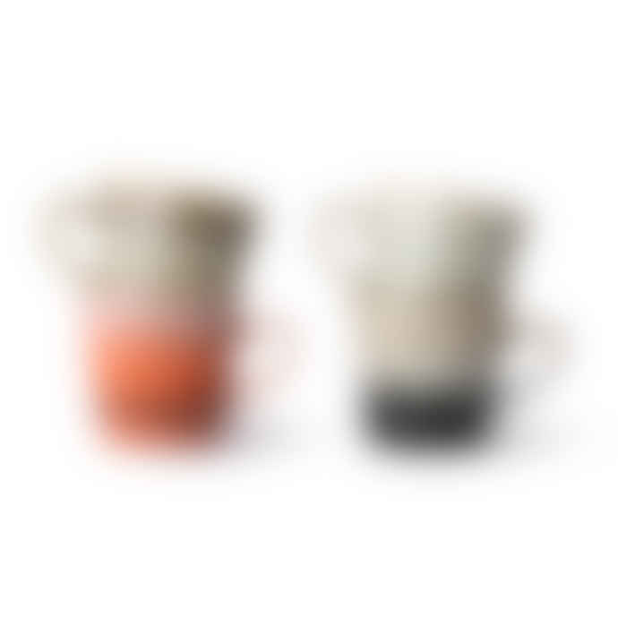 HKliving Set of 4 Ceramic 70s Americano Mugs