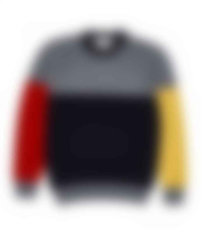 Country of Origin Tri Half Crew Sweater Grey Mix Navy