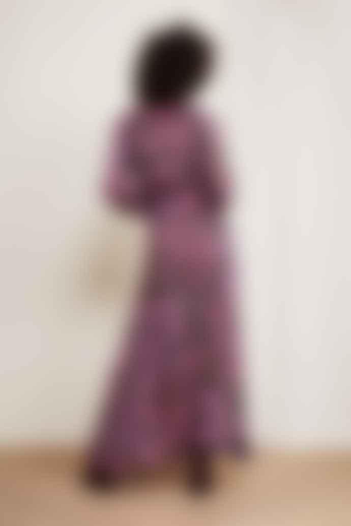 Fabienne Chapot Purple Poppies Print Liselotte Long Dress