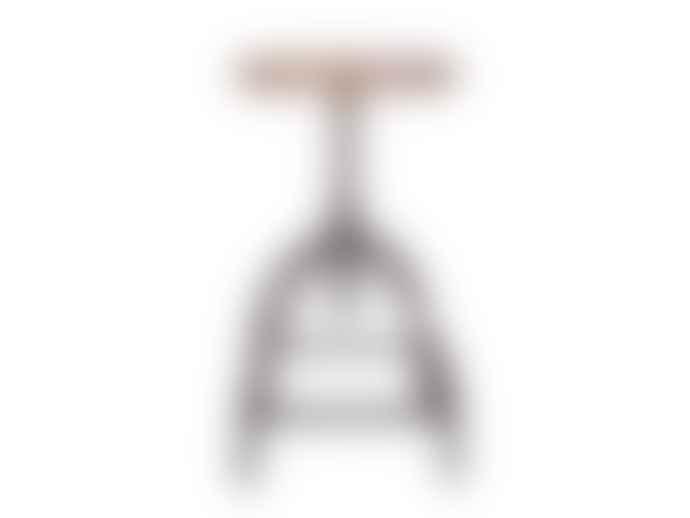 Broste Copenhagen Industrial Adjustable Metal Stool with Mango Wood Seat