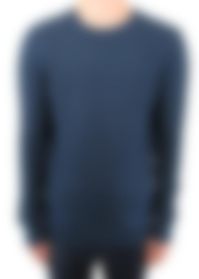 Remus Uomo Petrol Blue Cable Knit Crew Neck Jumper