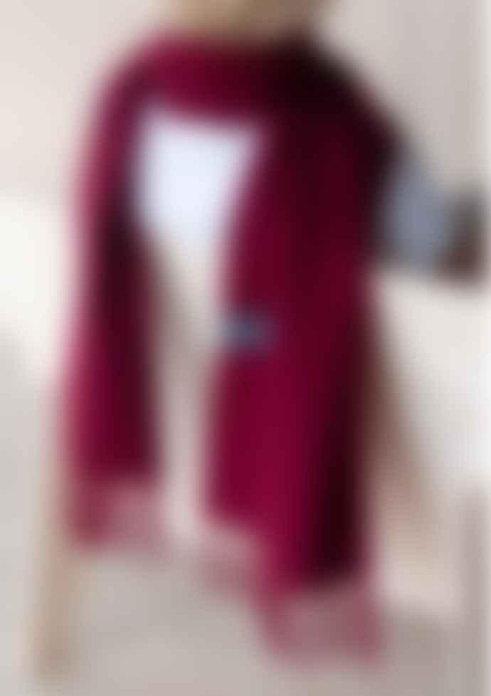 The Tartan Blanket Co. Lambswool Scarf In Berry Burgundy
