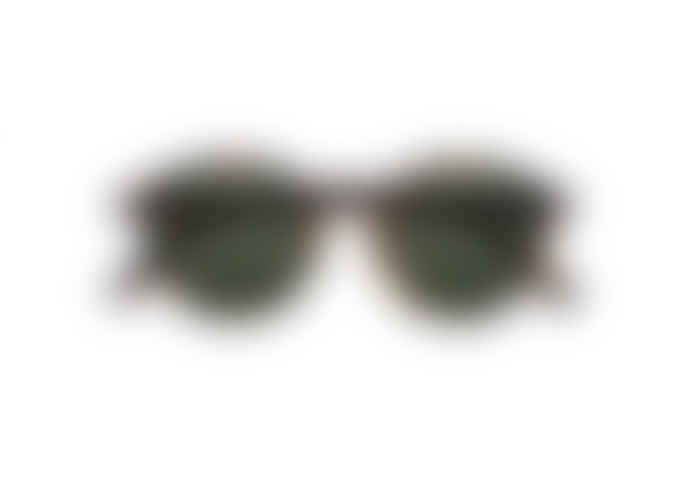 IZIPIZI Tortoise D Shaped Sunglasses with Green Lenses
