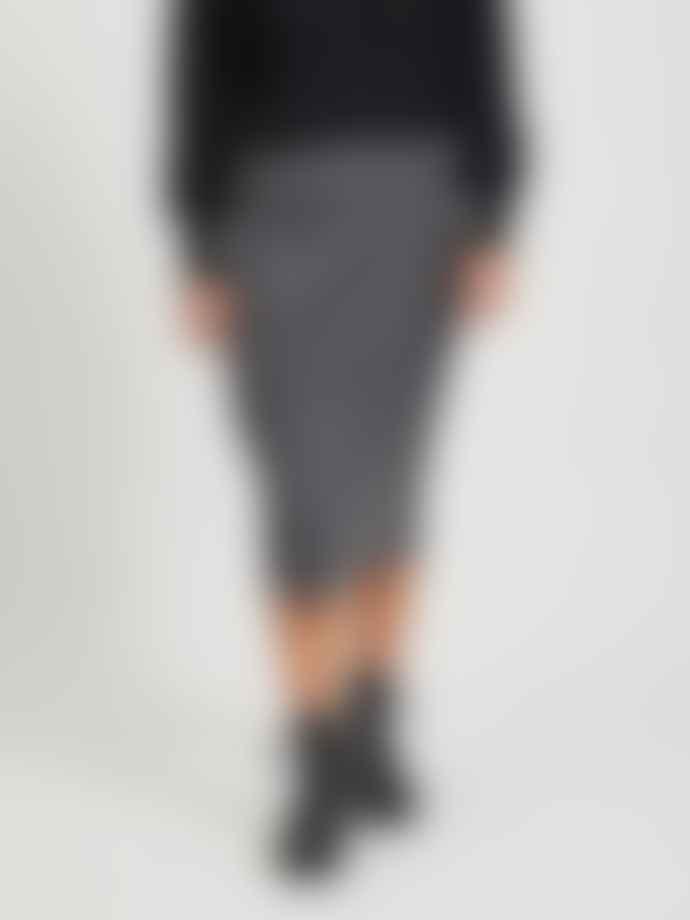 Vila High Waisted Knitted Skirt Grey