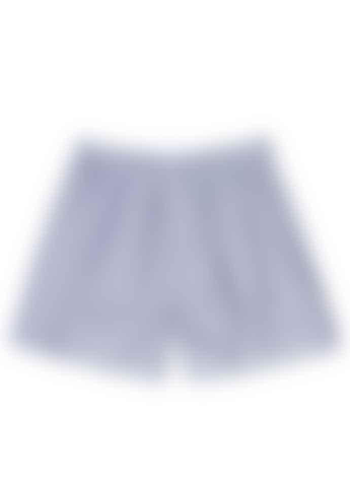 Sunspel Woven Boxer Short White Navy Light Stripe