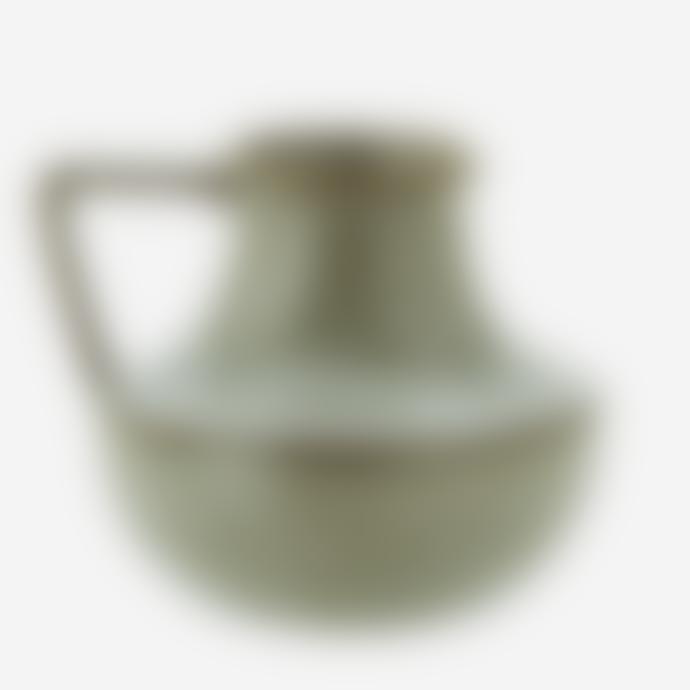 Madam Stoltz Green Red Stoneware Jug Style Vase
