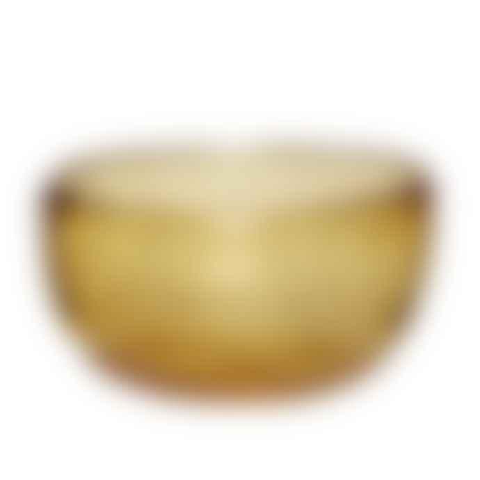 Hubsch Fruit Salad or Decorative Glass Bowl - Amber with Brass Fleck