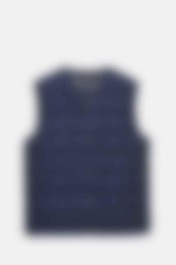 Taion Men's V Neck Button Down Vest In Navy