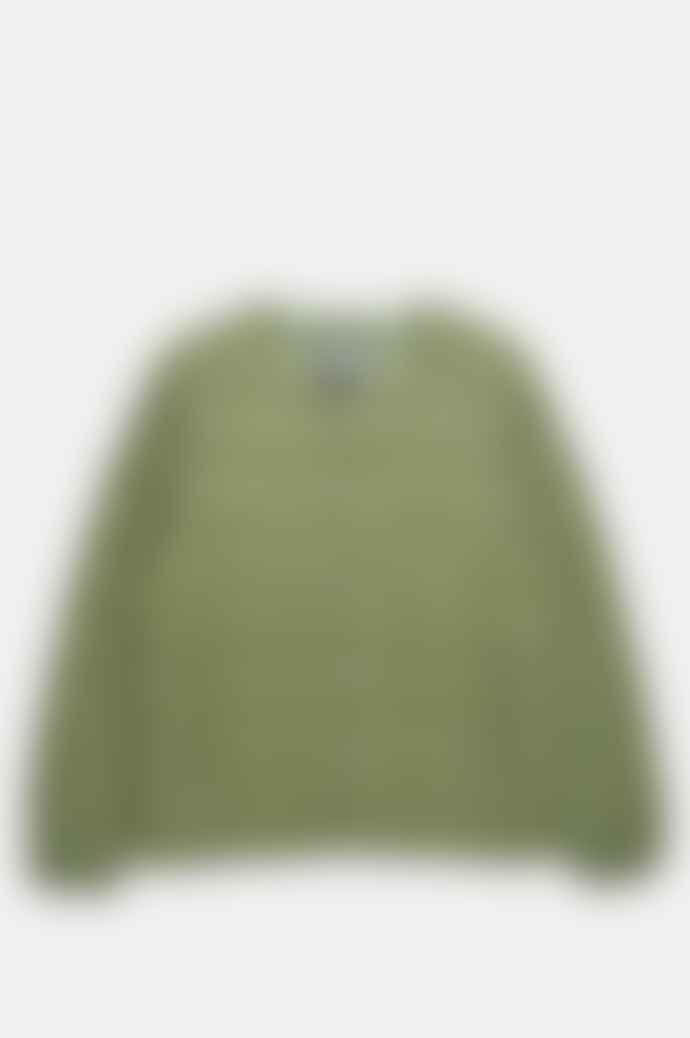 Taion Men's Crew Neck Button Down Jacket Olive