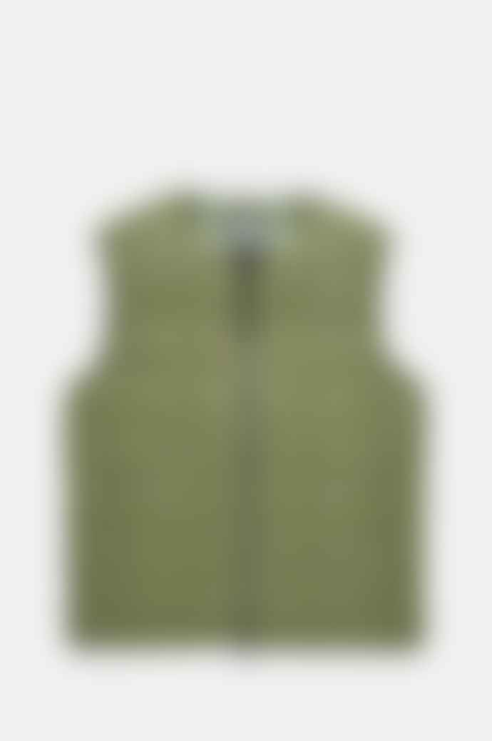 Taion Men's Crew Neck Zip Down Vest In Olive