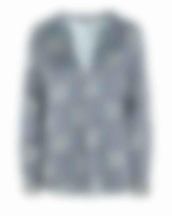 Dea Kudibal Blue Santena Silk Tunic Blouse with Paisley Print